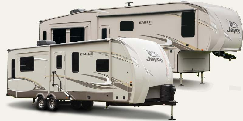 Jayco Eagle fifth wheels and travel trailers.