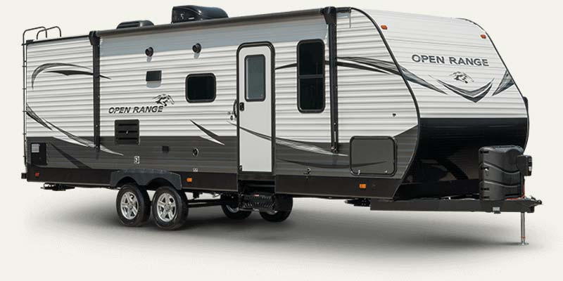 Open Range conventional travel trailers by Highland Ridge.