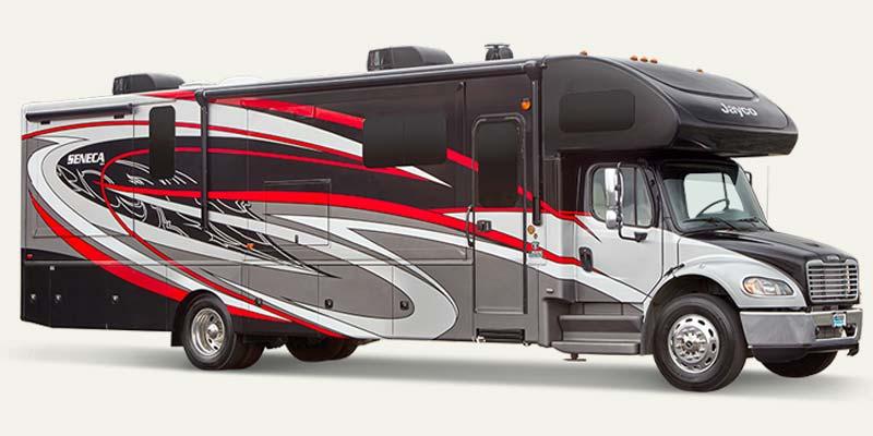 Jayco Seneca Super C diesel motorhome with Freightliner chassis.